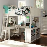 lovely loft beds for teenage girl with white wooden bed frame and study desk underneath with wooden swivel chair and hardwood flooring and wooden drawer dresser and rug