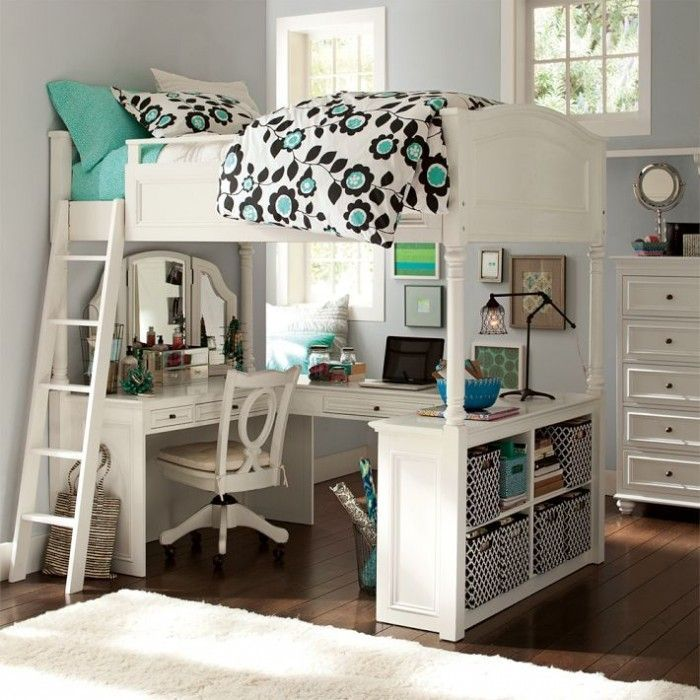 lovely loft beds for teenage girl with white wooden bed frame and study  desk underneath with