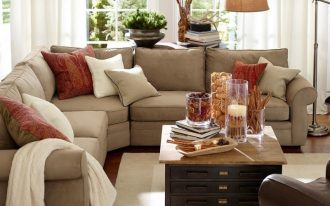 lovely sectional pottery barn sofa reviews wuth comfy cushions and square wooden table with many storage underneath plus rug and cool standing lamp