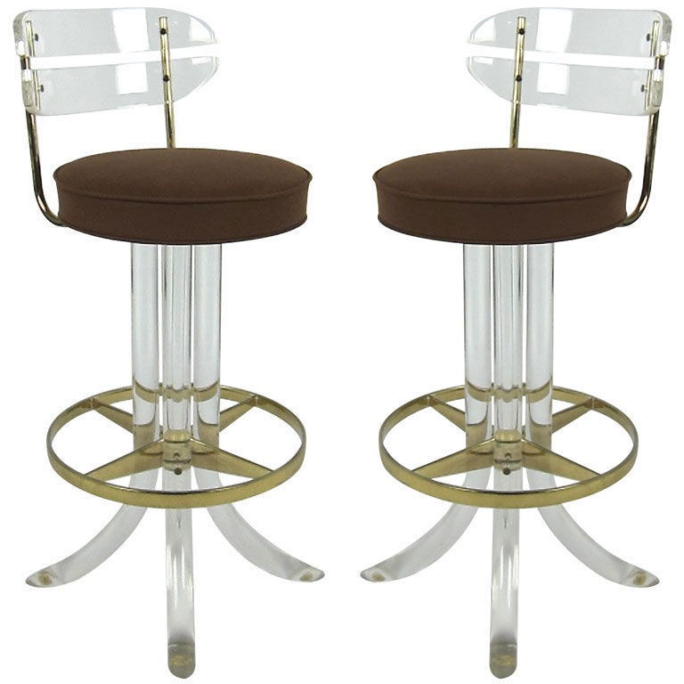 Lucite Counter Stools For Brand New Kitchen Decoration and  : lucite acrylic counter stools in modern design and brown seating feature plus clear back from homesfeed.com size 768 x 768 jpeg 62kB