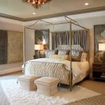 luxurious bedroom ideas with rug on top of carpet and canopy bed with metal frame and comfy bedding set and ottoman and nightstand with stylish table lamp