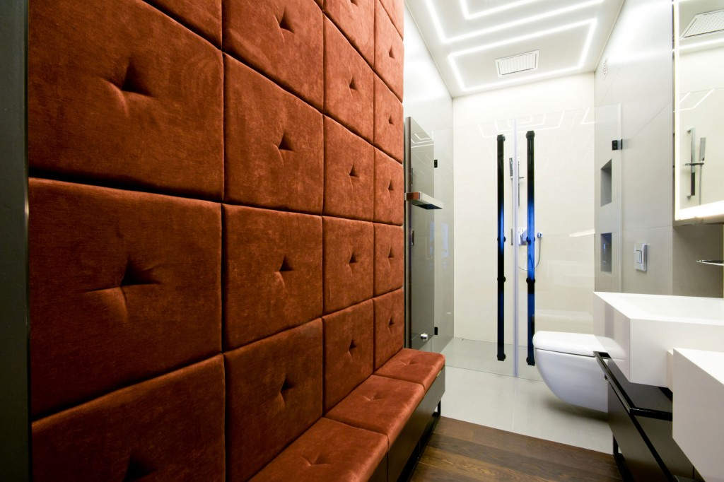 glass shower door and brown sophisticated soundproofing apartment wall