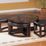 mahogany coffee table with ottoman seating in brown feat modern rug and wooden floor plus plant pot