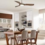 mid century modern ceiling fan decorated in dining room with wooden table and cozy chairs plus hardwood floor decorated aside kitchen