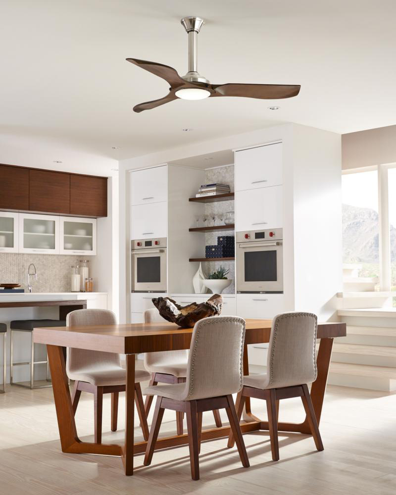 Mid Century Modern Ceiling Fan Decorated In Dining Room With Wooden Table  And Cozy Chairs Plus