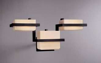 minimalis urban lamp from george kovacs lighting catalog with triple lamps and black metal handle