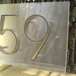 minimalist address plaques for home design on rectangle transparent board idea stacked on rustic tree with 59 number