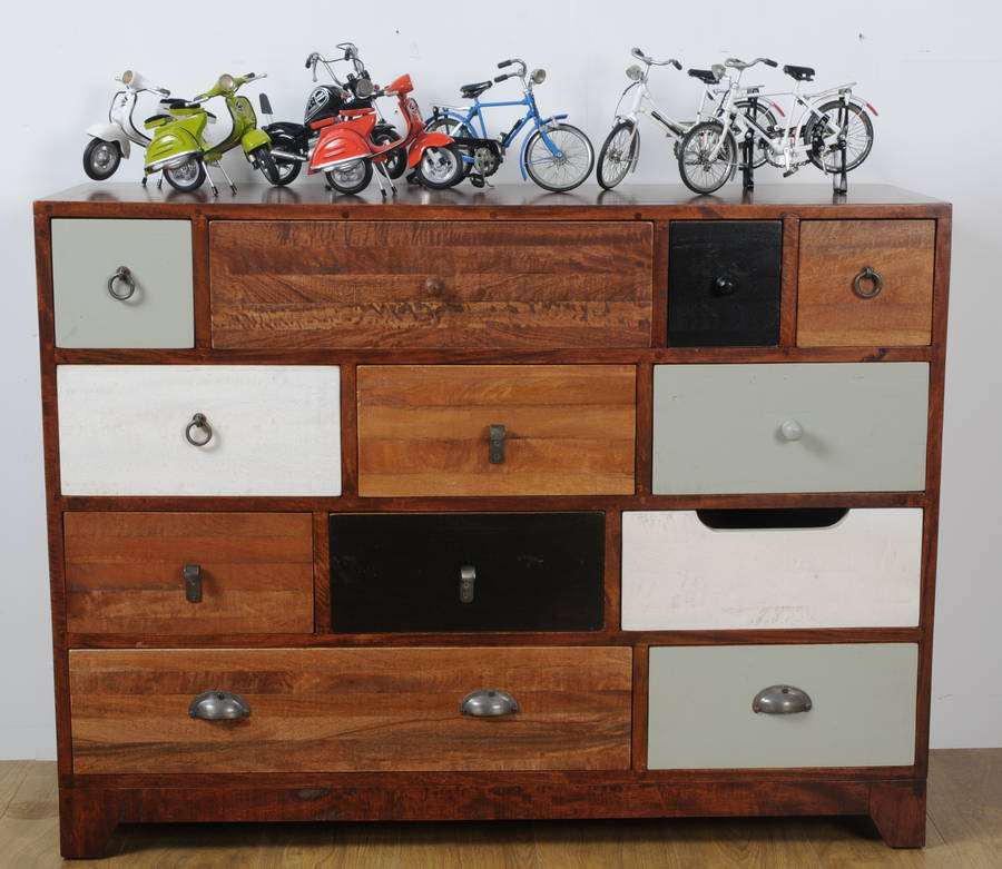 Mix Of Color Chest Of Drawer Design With Various Size Of Drawer With Botton Handle With