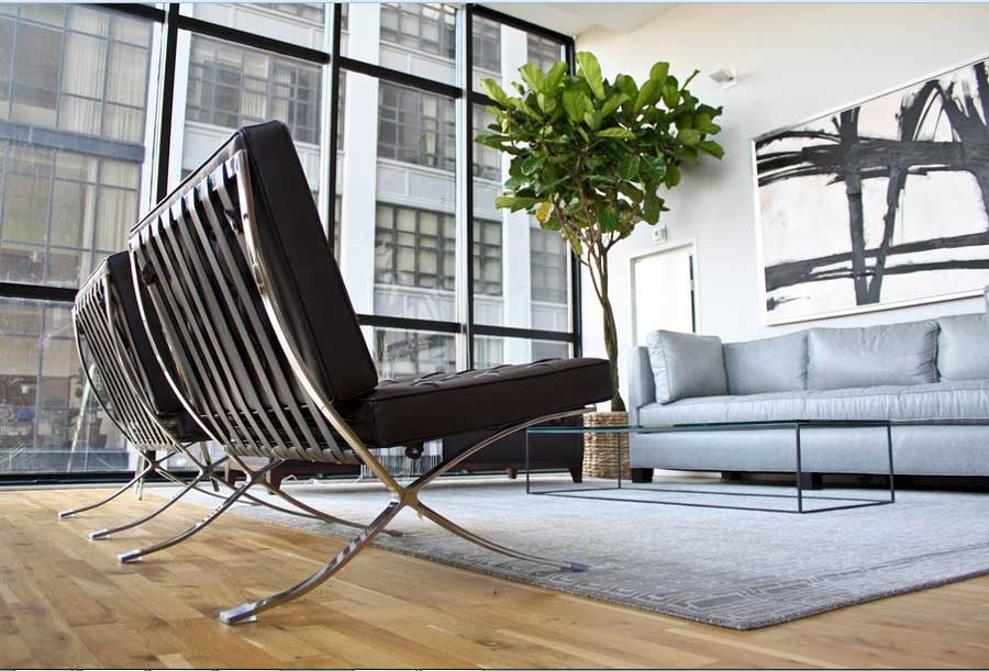 Modern Barcelona Chair Knock Off In Black Leather Plus Stainless Steel For  Contemporary Living Room In Part 57