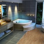 modern bathroom ideas with cork floor in bathroom install with tub and vanity units and unique sink plus mirror and seating