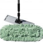 modern best dust mop design with gray ractangle base with black stainless steel handle and green mop