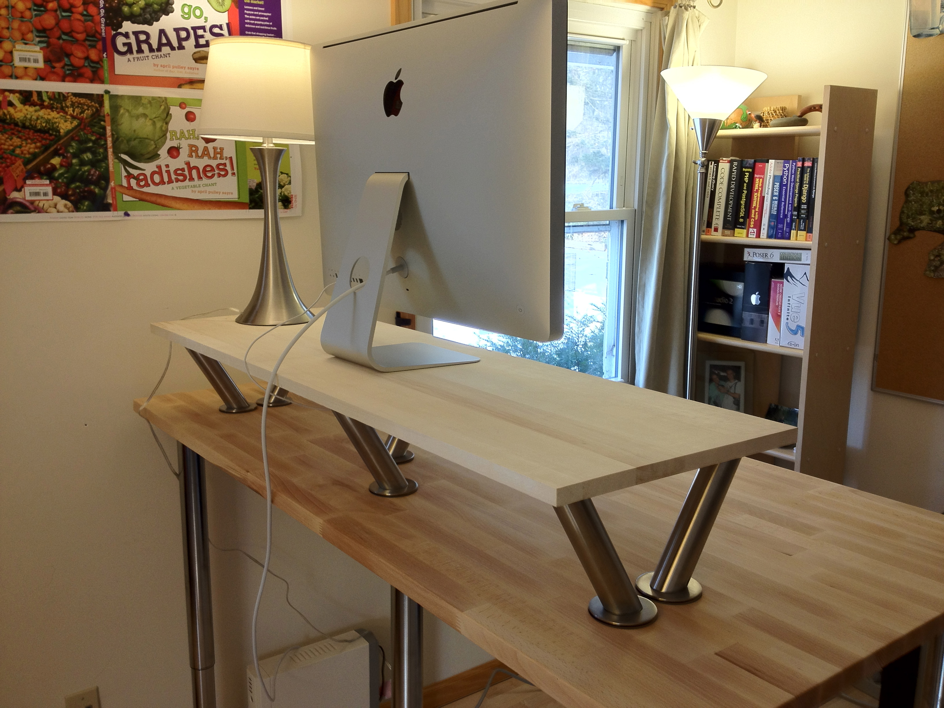 Modern Ikea Stand Up Desk Design From Wood With Double Tops And Unique Stainless Steel Pole
