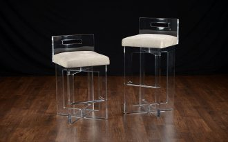modern lucite acrylic counter stools with comfy seating and clear back