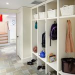 modern mudroom storage units in entryways with shoe storage and cute basket plus wardrobe hooks for jacket combined with natural  tiles