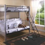 modern teenage bedroom with loft beds for teenage girl and metal bedding frame and white bedding set plus modern rug and wooden floor