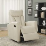 modern white recliners that don t look like recliners with soft rug on laminate floor and vertical blinds on window and wooden book case in dark finishing