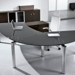 modular curved office desk design on white legs with lucite chair