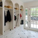 Mudroom Storage Units In Entryway With Impressive Tile For Flooring And Drawer Underneath Plus Clothes Hooks And Glass Front Door