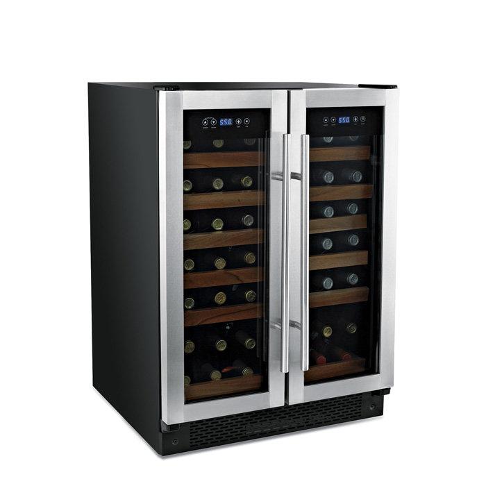 Nice Designed Double Door Dual Temp Wine Cooler With Transparent Door  Design And Twelve Racks