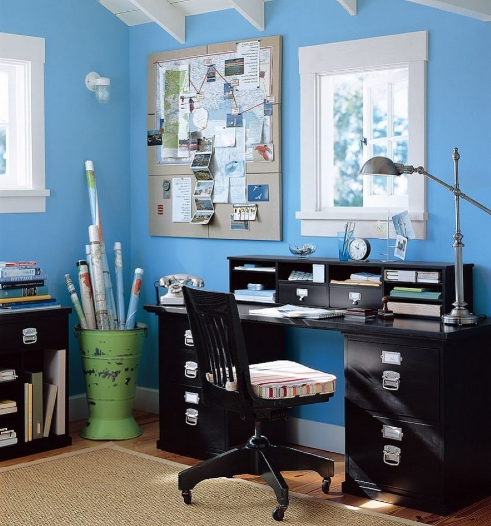 Peaceful Blue Office Idea With Black Wooden Modular Desk Design And Simple  Swivel Chair With Modern