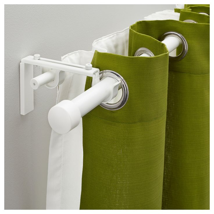 posh and fresh green modern curtain design in bols style with white metal tensio curtain rod