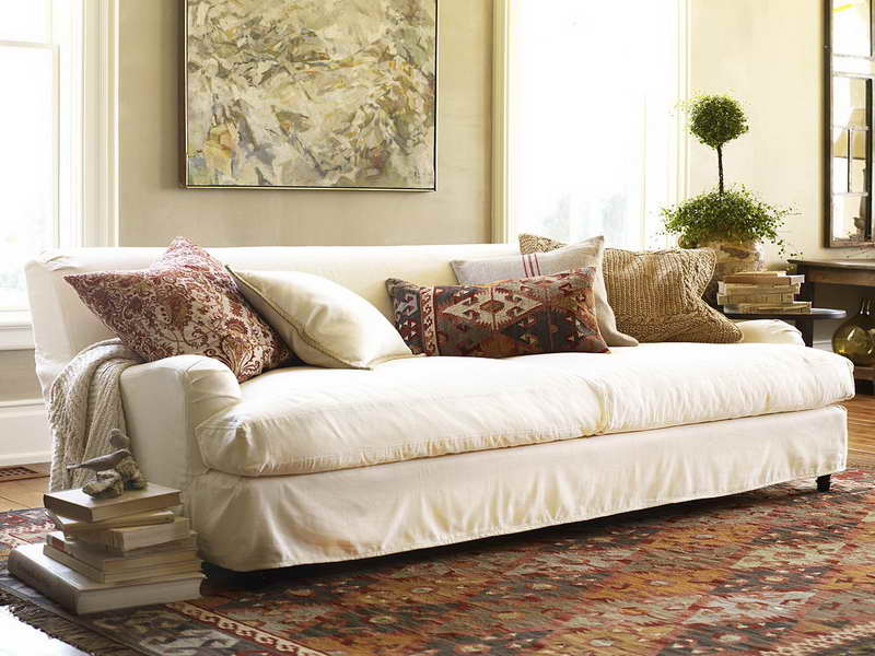 Great Pottery Barn Sofa Reviews In White Fabric Plus Decorative Cushions And  Modern Rug For Living Room