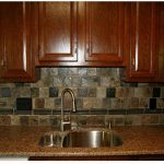rustic backsplash for kitchen gloss brown stained wood cabinet system beautiful granite kitchen countertop a stainless steel sink and faucet