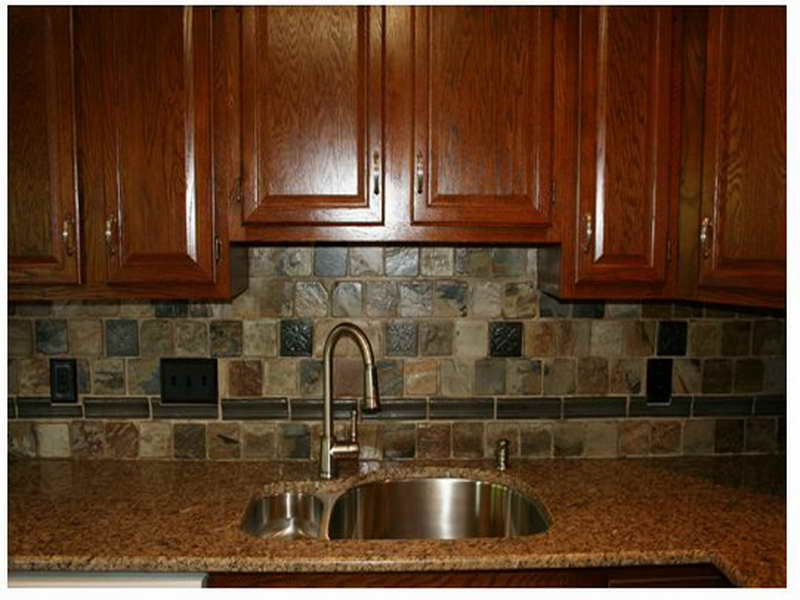 rustic backsplash for kitchen gloss brown stained wood cabinet system