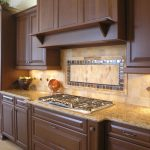rustic backsplash tiles with diamond cut patterns gas stove marble kitchen countertop darker brown kitchen cabinet system
