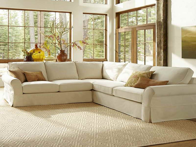 Charmant Sectional Pottery Barn Sofa Reviews In Living Room With Decorative Cushions  And Modern Rug And Large