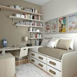 simple bedroom ideas with white wooden bed and drawer beneath plus wall mounted shelves and small desks for bedrooms and poster plus gray rug