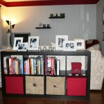 simple black wooden expedit storage bins design with creamy and reddish accent with bookshelves