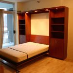 simple classic murphy bed chicago design with natural tall and large storage with wooden chair on hardwood floor with large glass window with transparent curtain