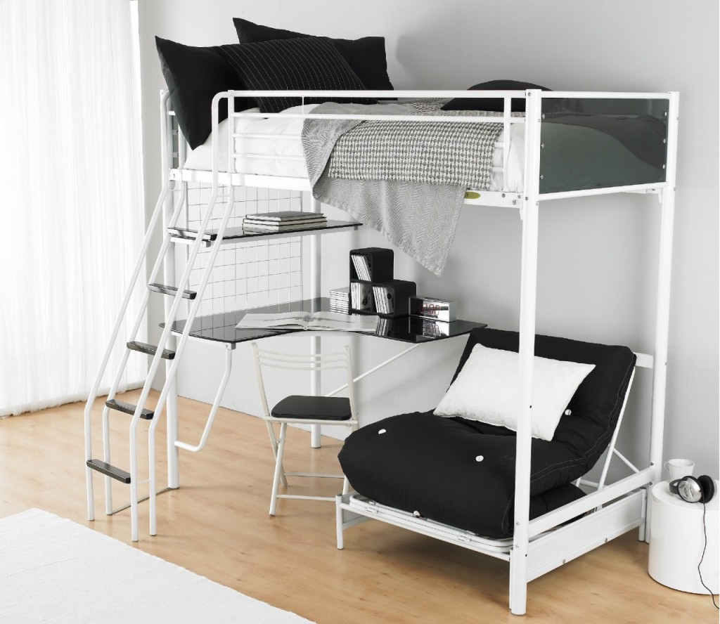 Simple Loft Beds For Age With Metal Bed Frame Combined White Black Bedding Set