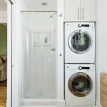 Simple White Laundry Room Design With Wooden Floor And Transparent Storage Design With Small Stackable Washer Dryer Combo Idea