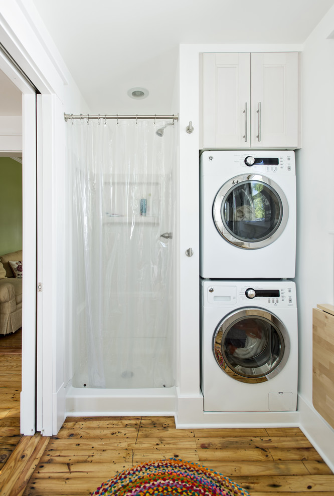 Small stackable washer dryer combo invades every laundry for Small shower room ideas