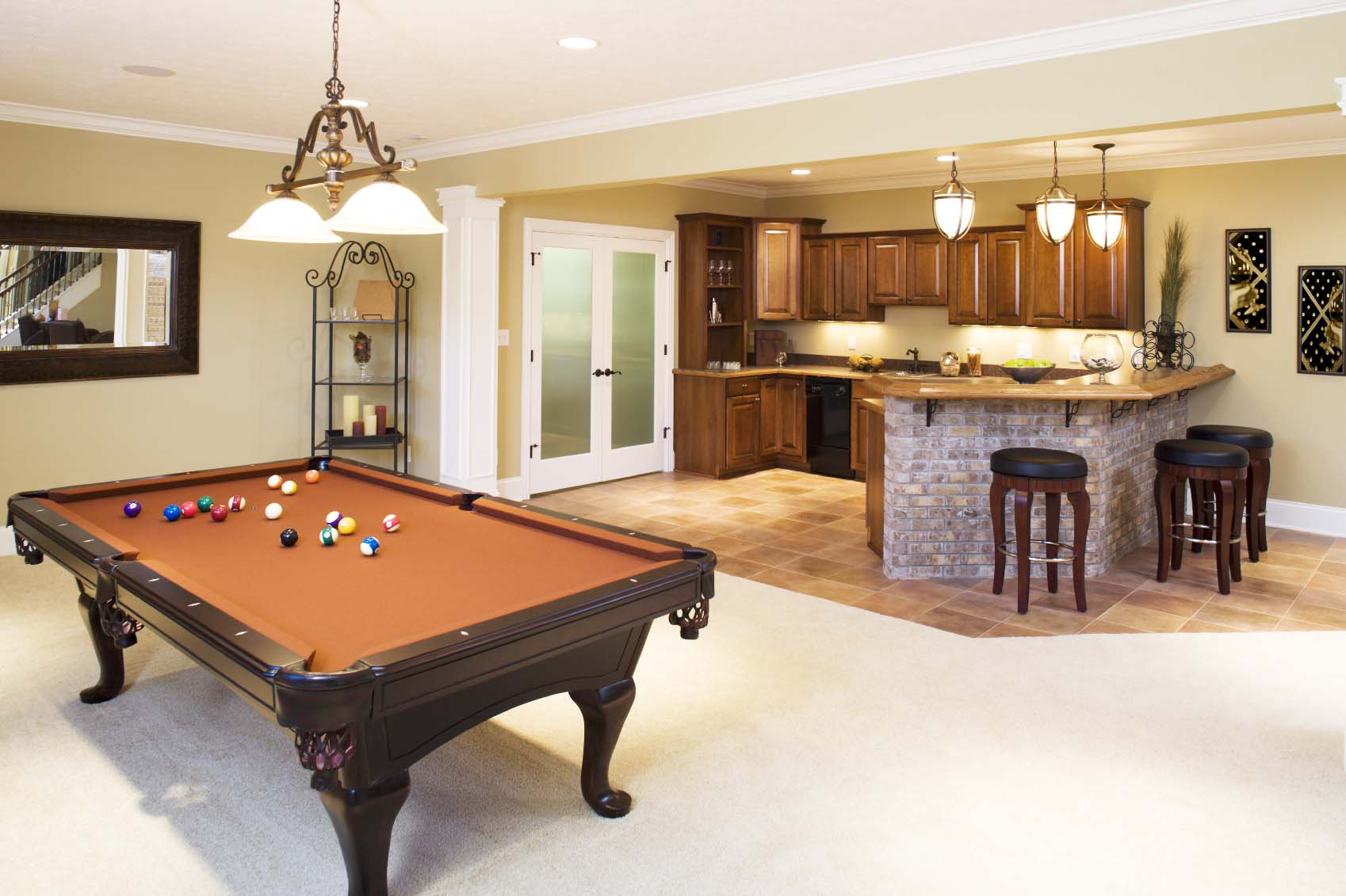 Lower Level Game Room And Bar In Residential Home. Small Basement ...