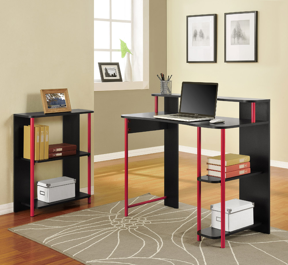 small black and red desks for bedrooms with hutch and file organizer
