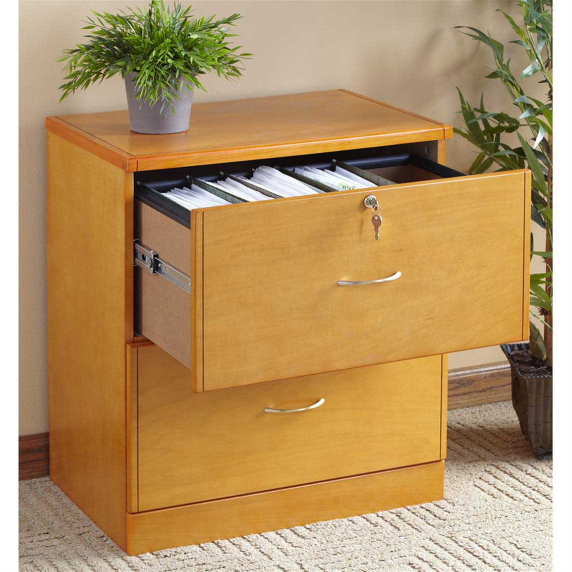 small boxy flat file ikea cabinet design with metal handle and key and potted plant on