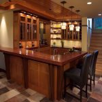 Small Corner Bar For Basement With A Pair Of Black Barstools Three Units Of Pendant Lamps Multiple Color Tiles Flooring System