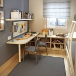 small desks for bedrooms for two people with wall mounted shelf and metal table lamp and grey rug plus bookcase under the window