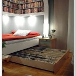 smart bedroom decoration idea with storage bed nyc with wall bookshelves design above shabby chic nightstand