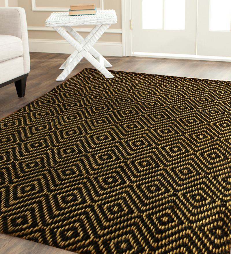 Smart Patterned Black Jute Rug Design With Yellow Pattern On Washed White Flooring Furniture