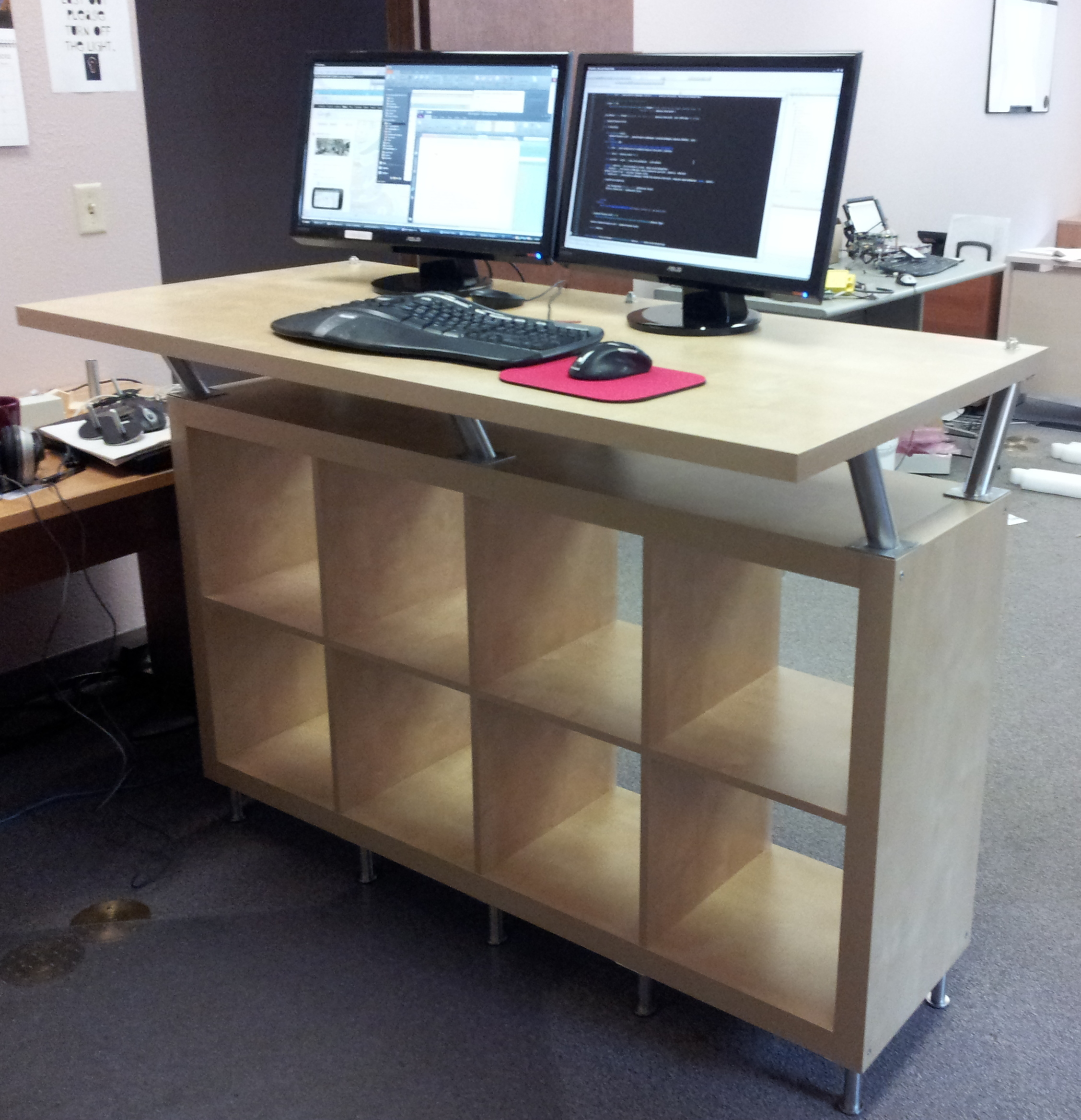 Sophisticated Ikea Stand Up Desk Design With Storage And Simple Creamy Top Computer Sets In