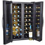 sophisticated two doors dual temp wine cooler design in black style with transparent doors and various racks