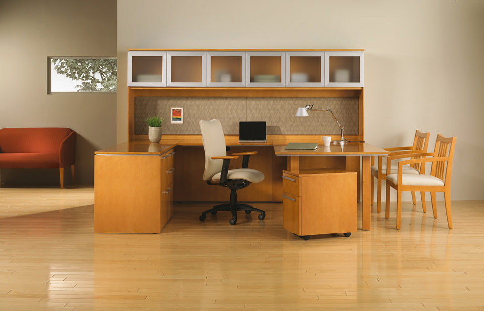 spacious office design with beige wooden modular desk components design with white upholstered leather chair and office desk components