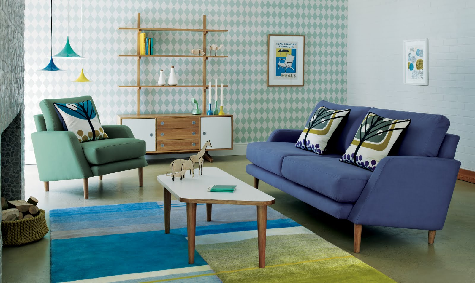 sweeten your live with ferm living usa for chic and playful home  - stunning living room of ferm living usa with purple sofa and green sofa andunique coffee