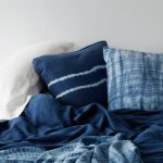 stunning ombre blue colored soft cotton sheet design with white line accent on white bedding idea
