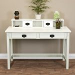 stunning white wooden writing desks for small spaces with hutch and drawers with vintage knobs and greenery and hardwood floor