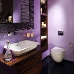 stunning wooden vanity idea with rectangle white marble sink beneath black metal framed wall mirror in purple bathroom with recessed cabinet
